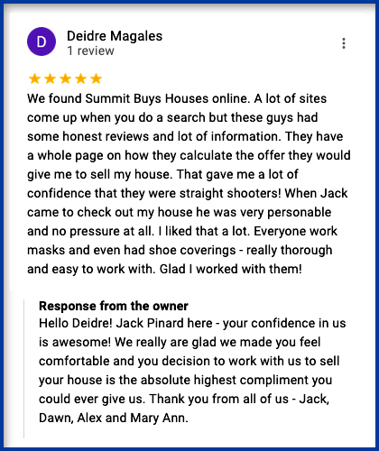 Here's A Review From Deidre Who Wanted To Sell House Fast In Massachusetts