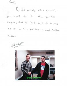thank you letter from seller Don Barron