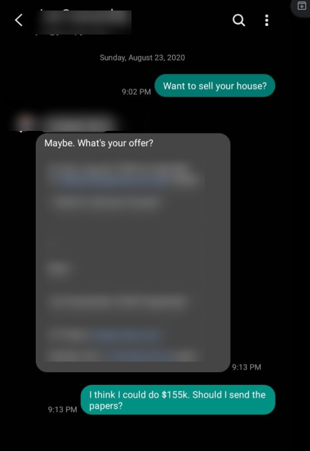 text to sell house