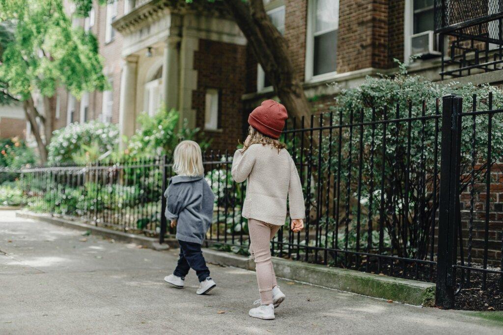kids checking out the neighborhood