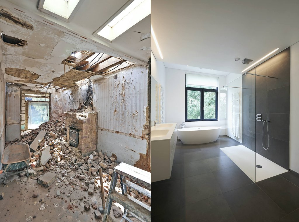 a before and after picture of a house bought for cash by Tower Home Buyers
