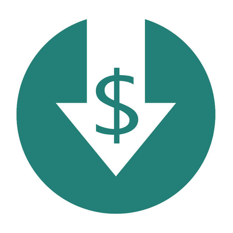 dollar sign inside a white down arrow inside a green circle