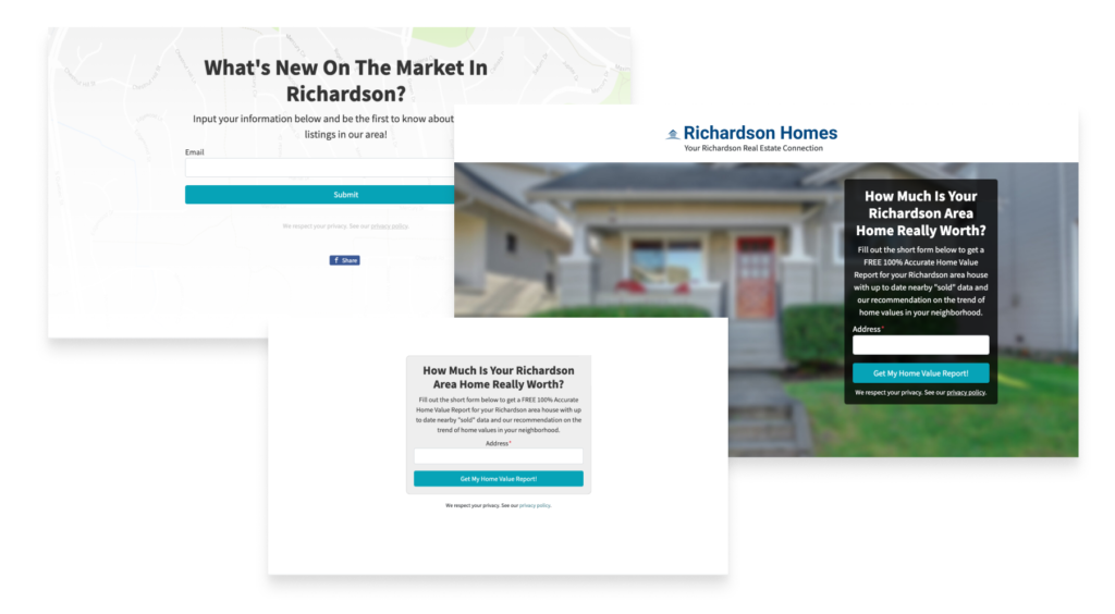 real estate agent website landing pages