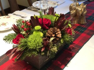 A Christmas table staged for selling.