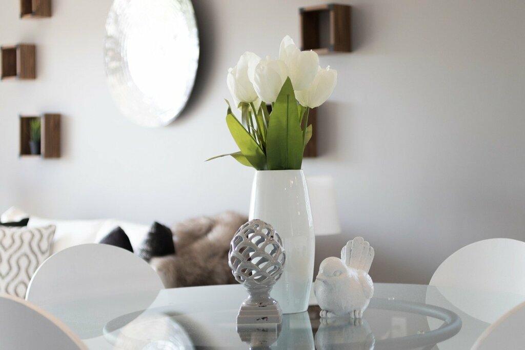 flower vase in tastefully decorated home