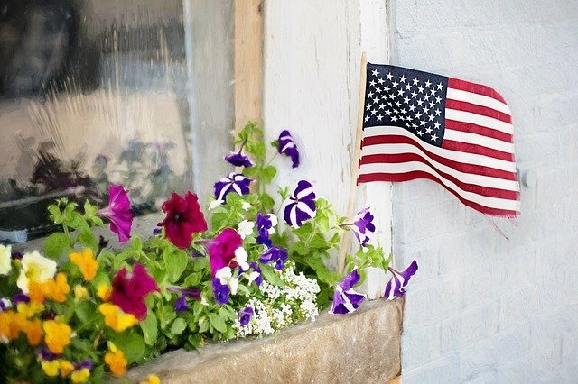 US Flag in a flower box