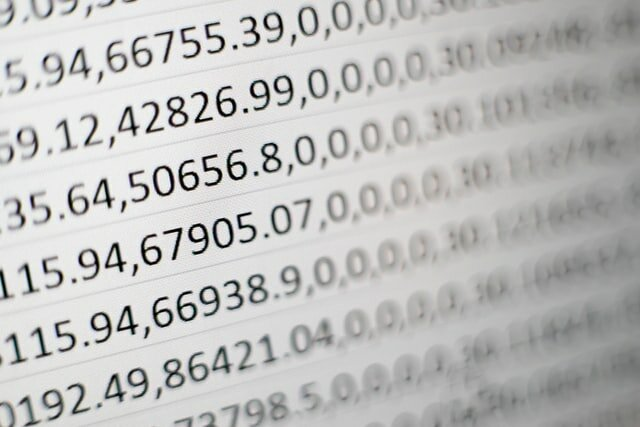 numbers on a page with decimals and commas