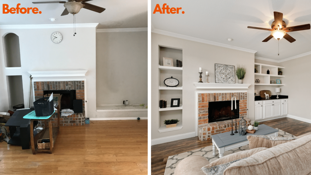 Garland House Flip Living Room Before and After Picture