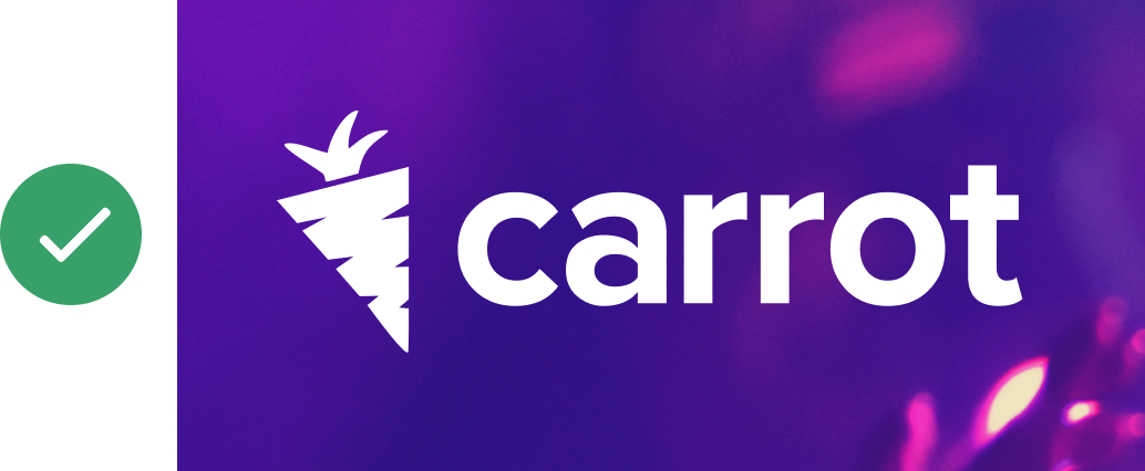 Carrot reversed logo on an image - approved