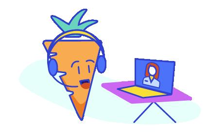 Carrot customer support illustration