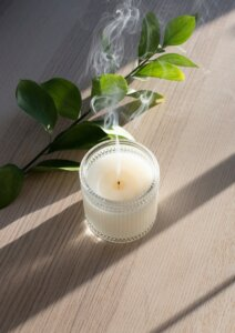 Using a scented candle to appeal the senses of a possible home buyer