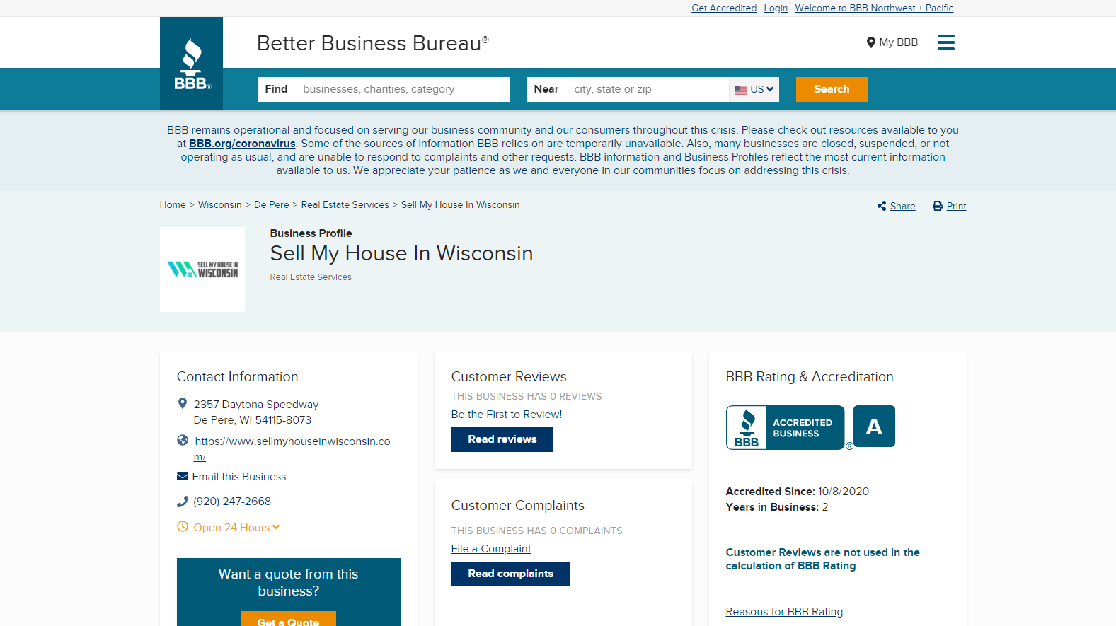 Better Business Bureau page for Sell My House In Wisconsin