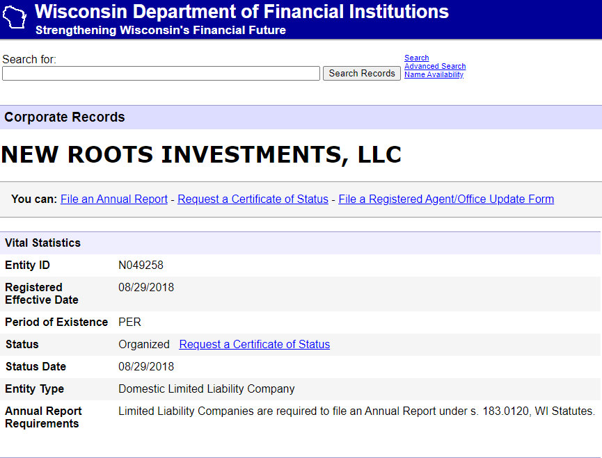 LLC Registration with State of Wisconsin for New Roots Investments LLC