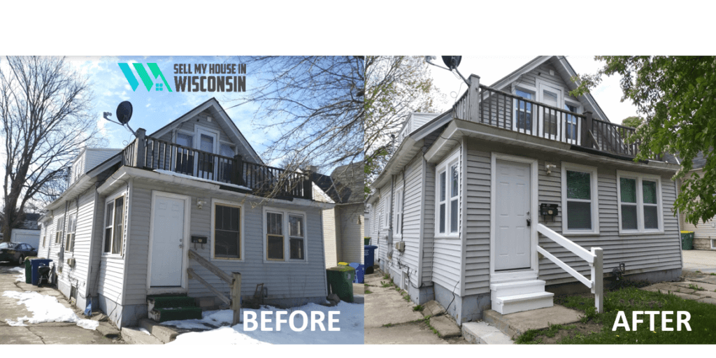 House we bought cash in Green Bay, Wisconsin. Before and after comparison.