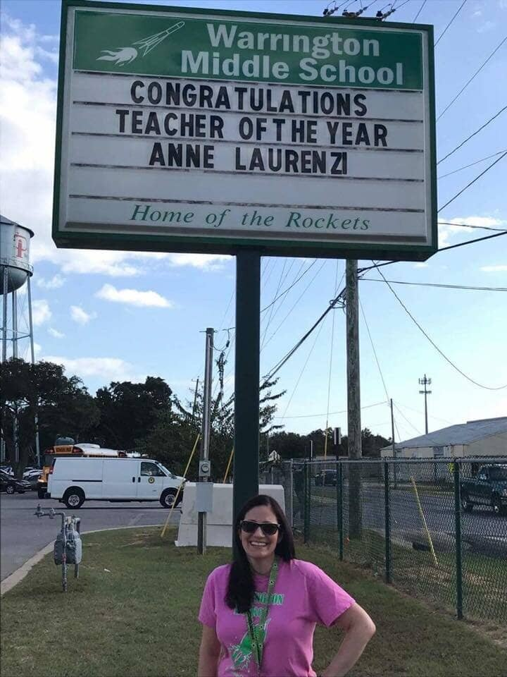 Anne was Teacher of the Year