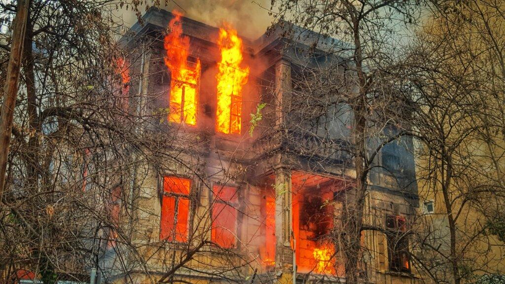 fire damaged house