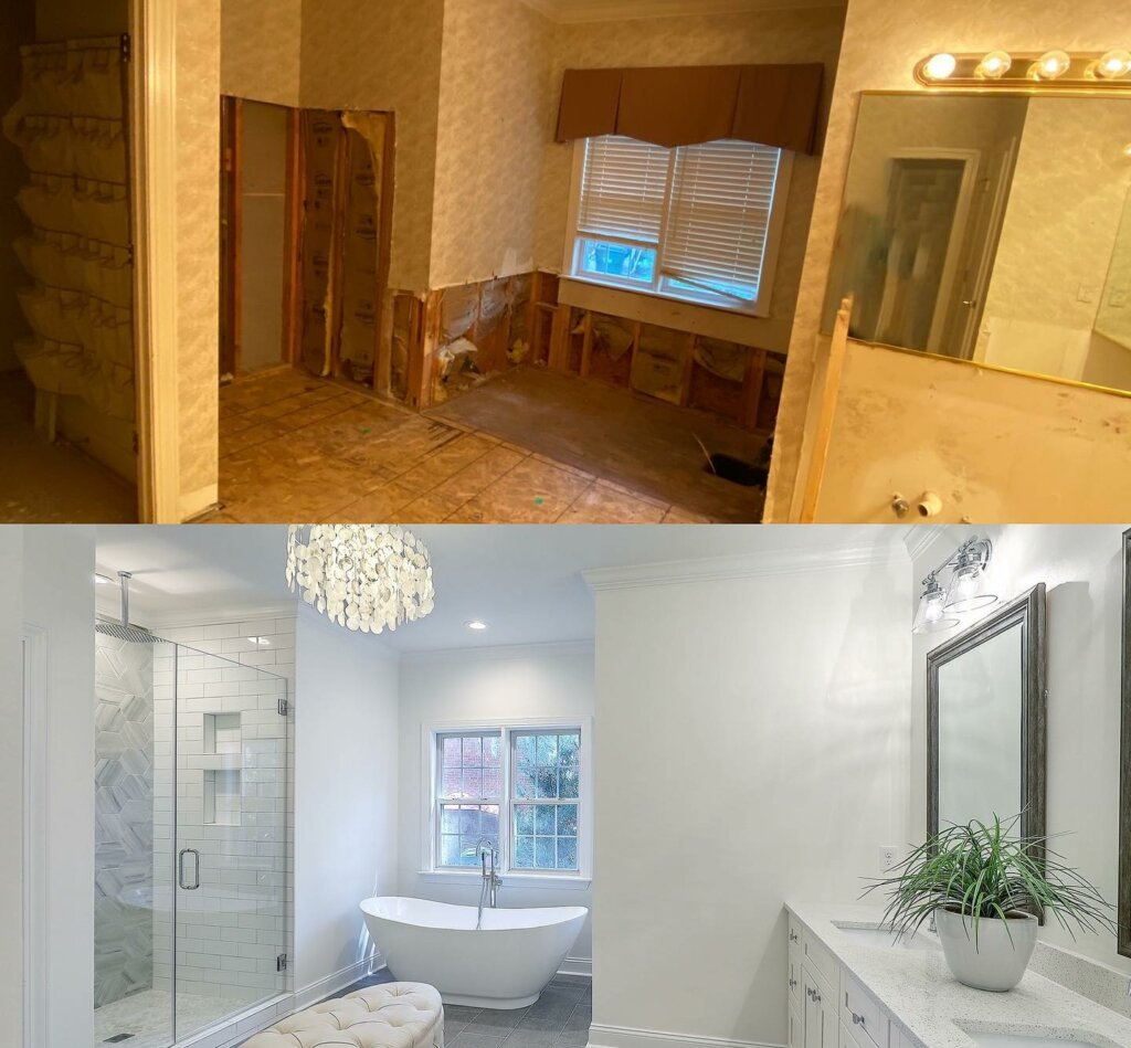 Image of  bathroom before and after results