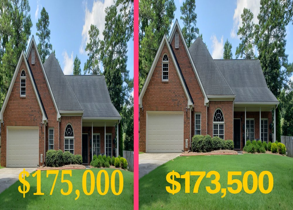 the same home put side by side to illustrate the different prices in the market of different homes