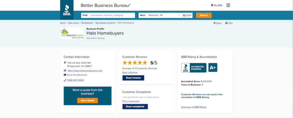 Halo Homebuyers BBB profile