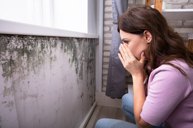 Shocked Young Woman Looking At Mold On Wall On Her House