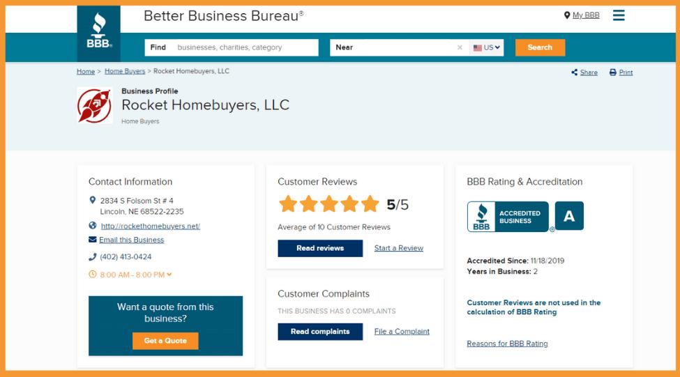 Rocket Homebuyers Better Business Bureau Overview