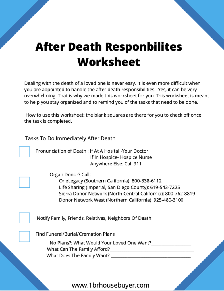 what to do after death in California