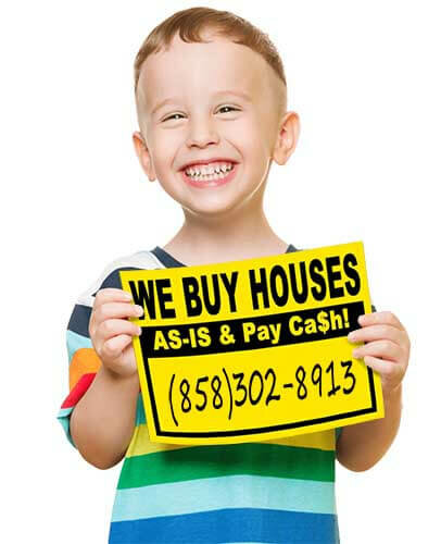 Young Boy Holding a Sign that reads WE BUY HOUSES AS-IS & Pay Cash 858-302-8913