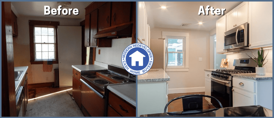before and after picture of the kitchen. We demonstrate how we fix up houses after we purchase them from sellers.