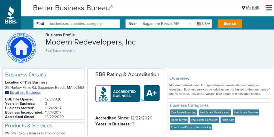 Screenshot of a plus accredited better business bureau profile for Modern Redeveloper Home Buyers