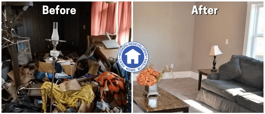 Before and after pictures of people leaving furniture and personal items they don't want in the house after we buy the house from them.