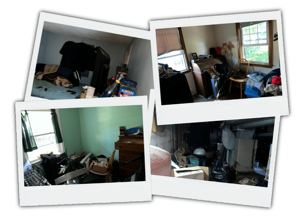Rooms filled with trash from a home seller after we purchased the house