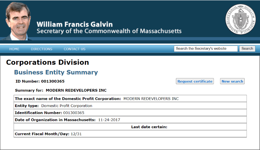 Secretary of state proving modern redeveloper home buyers is a registered business in Massachusetts
