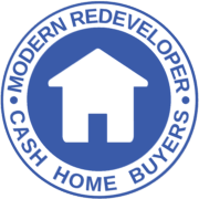 Round logo of Modern Redeveloper Cash Home Buyers shows We Buy Houses In Massachusetts