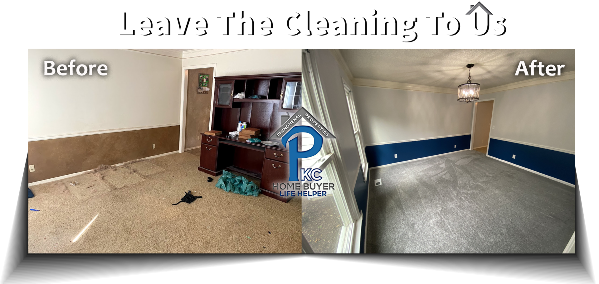 Before & After of Overland Park, KS house purchased for cash