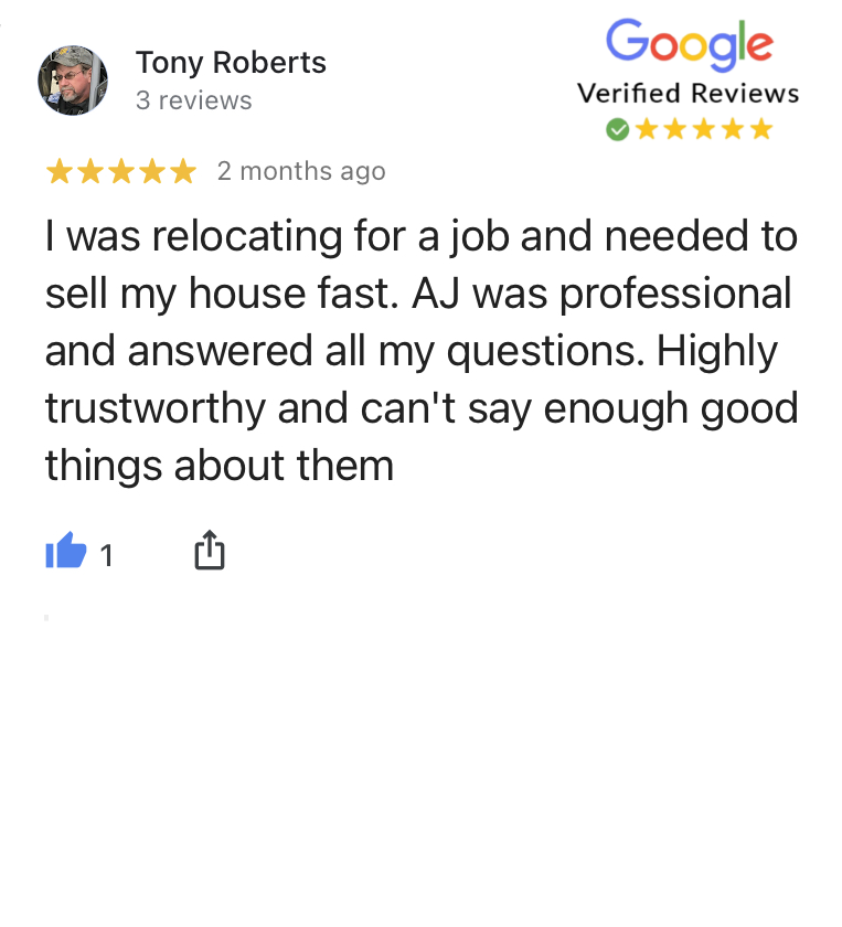 Tony was satisfied when selling his house in Overland Park to Phenomenal Properties KC