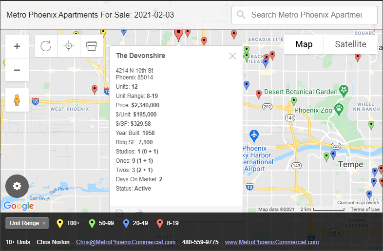 Map Of All Advertised Metro Phoenix Apartments And Multi-family For Sale