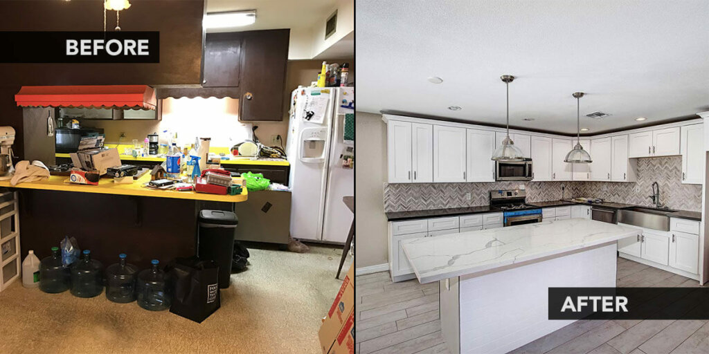 buying houses before and after shot. cash home buyers in texas