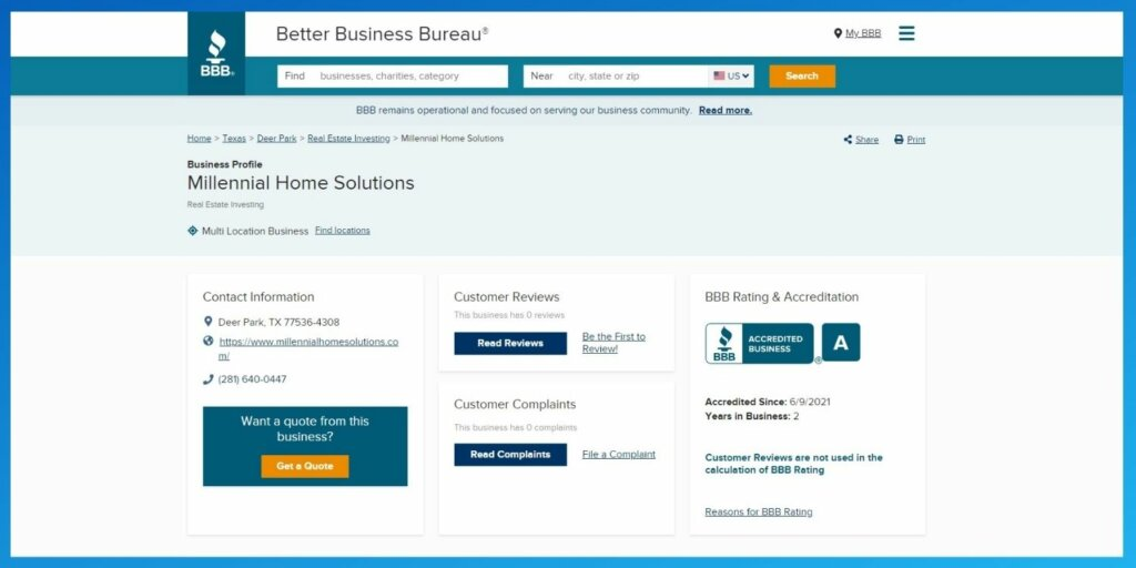 BBB accredited home buyers texas