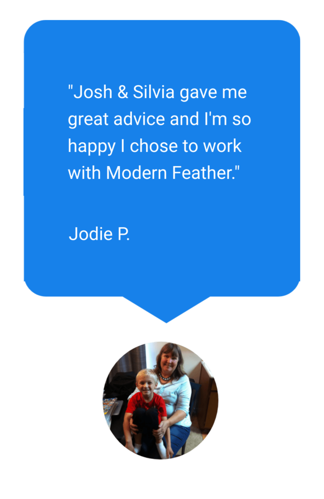 Blue review bubble from Jodie that says Josh and Silvia gave me great advice and I'm so happy I chose to work with Modern Feather. With a picture of her below it.