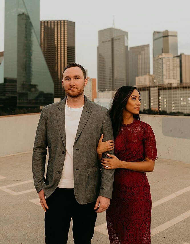 Home buyers Josh and Silvia Poulin standing in downtown
