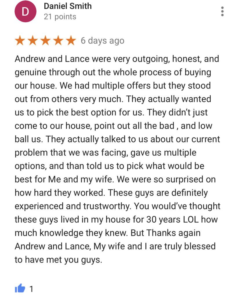 We Buy Houses Google Reviews #1