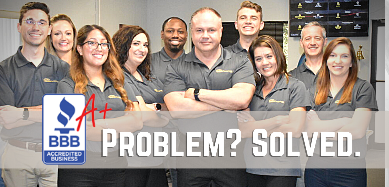 Our Team with text saying problem? solved.