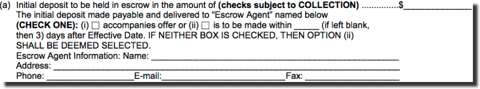escrow provision sample