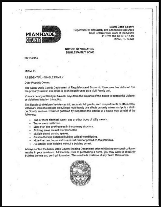 hialeah notice of code violation