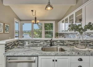 Lakefront house - looking at lake side of kitchen