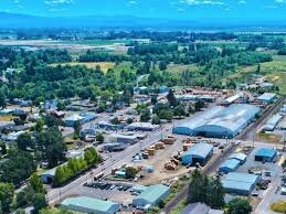 Aerial View of Aumsville showing the town and outlying areas