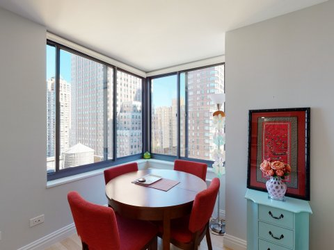 235 W 48th Street Unit 22L Dinning Room views of this Times Square adjacent rental apartment.