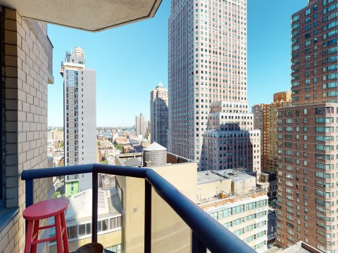235 W 48th Street Unit 22L Balcony views of this Times Square adjacent rental apartment.