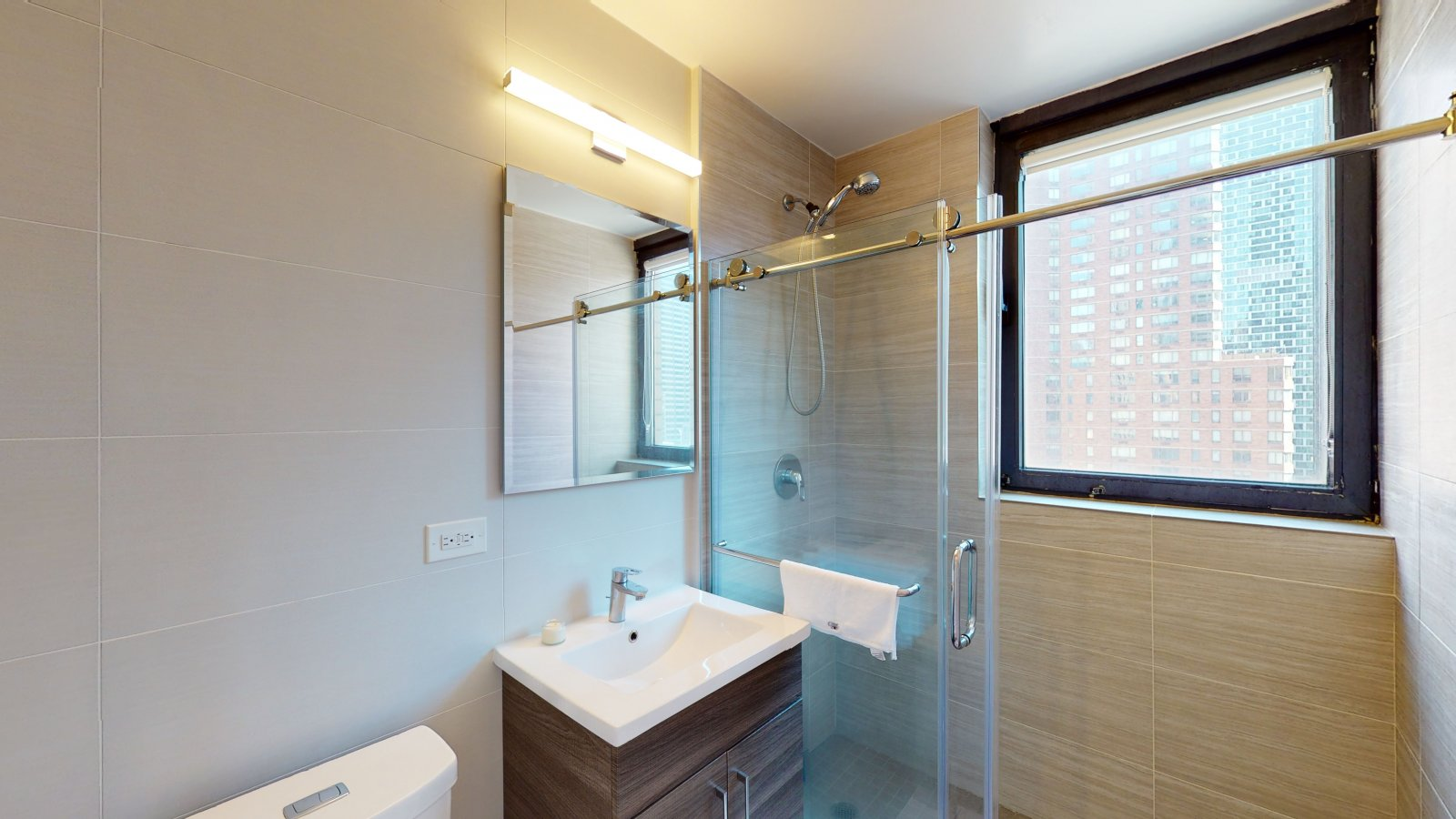 235 W 48th Street Unit 22L Bathroom of this Times Square adjacent rental apartment.
