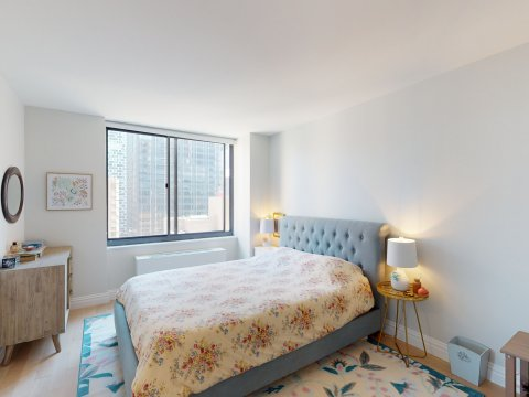 235 W 48th Street Unit 22L Bedroom of this Times Square adjacent rental apartment.